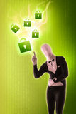Man mime present Security locks. Green Stock Photography