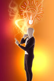 Man mime presents bulb faq. Orange Royalty Free Stock Image