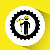 Man mining gears pickax icon. Illustration Stock Photography