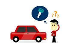 Man Missing A Car Key. Man Forgot Where He Put His Car Key/ Looking For/Missing His Car Key (in Flat Cartoon Style Royalty Free Stock Photo