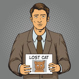 Man with missing cat ads pop art style vector Stock Photos