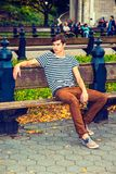 Young man relaxing at Central Park, New York Royalty Free Stock Photography