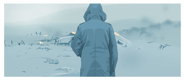 Man in the mist. A man in the mist stock illustration