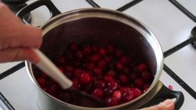 A man mixes sugar and frozen cranberries in a saucepan. Stirs with a spoon. Prepares mashed potatoes for marshmallow. A man mixes sugar and frozen cranberries stock video footage