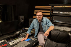 Man at mixing console in music recording studio Royalty Free Stock Photos