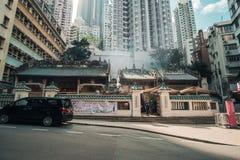 Man Mo Temple на дороге Голливуд, районе Sheung болезненном, ориентире и популярном для достопримечательностей; Гонконг, Китай, 1 стоковые фотографии rf