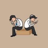 Man mobile phone addicted royalty free illustration