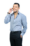 Man with mobile phone isolated Stock Images