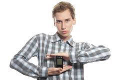 Man with mobile phone over white Royalty Free Stock Photography
