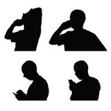 Man and mobile phone silhouette Royalty Free Stock Photography