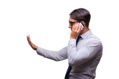 The man with mobile smartphone isolated on white Royalty Free Stock Photos