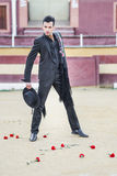 Man, model of fashion, wearing spanish clothes in a bullring Stock Image