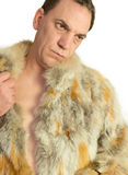Man Model in fur isolated Royalty Free Stock Images