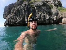 Man model scuba diving in summer thailand stock photos