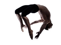 Man modern ballet dancer dancing gymnastic acrobat Royalty Free Stock Image