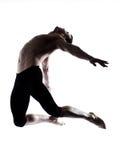 Man modern ballet dancer dancing gymnastic acrobatic jumping. One caucasian modern ballet dancer dancing gymnastic acrobatic jumping bend posture studio isolated stock photography