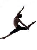 Man modern ballet dancer dancing gymnastic acrobatic jumping. One caucasian modern ballet dancer dancing gymnastic acrobatic jumping bend posture studio isolated stock photo