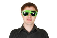 Man in modern club sunglasses smiling Stock Images