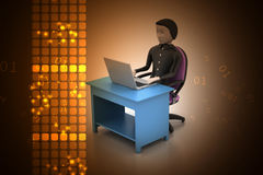 Man in a modern desk with laptop. In color background Stock Image