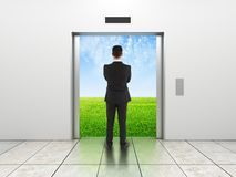 Man and modern elevator Royalty Free Stock Image