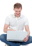 Man with modern laptop and  typing on keyboard Royalty Free Stock Image