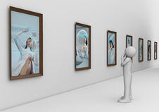 Man in modern photo gallery Royalty Free Stock Images