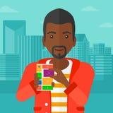 Man with modular phone. Stock Image