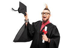 Man with a Mohawk celebrating graduation Royalty Free Stock Photo