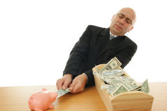 Man with money. Politician and piggy near trough on white background Royalty Free Stock Image