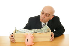 Man with money. Politician and piggy near trough on white background Stock Photography