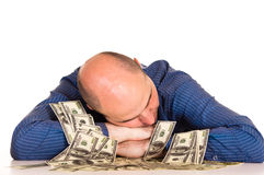 Man and money. Portrait of an adult man with money royalty free stock photo