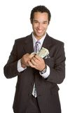 Man with Money. Isolated business man with money Stock Photo