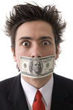 Man with money. In you mouth, ready to Win Royalty Free Stock Photo