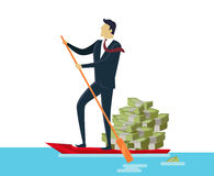 Man and Money in Boat Royalty Free Stock Image