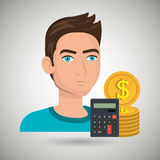 Man money coins calculator. Illustration eps 10 Royalty Free Stock Photos