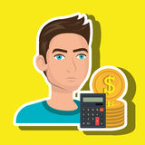 Man money coins calculator. Illustration eps 10 Stock Images