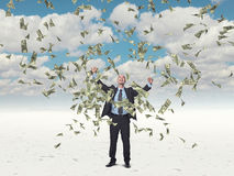 Man and money. Happy man and flying dollar Royalty Free Stock Photos