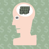 Man and money in head concept Royalty Free Stock Photo