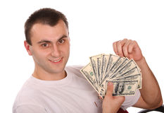 Man with money. Isolated. Young man with money. Isolated Royalty Free Stock Photo