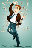 Man money millionaire character cartoon  illustration Royalty Free Stock Images