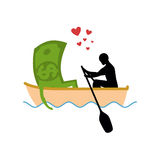 Man and money and ride in boat. Lovers of sailing. Man rolls cas Royalty Free Stock Photos