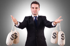 Man with money sacks Royalty Free Stock Images