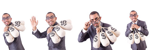 The man with money sacks on white. Man with money sacks on white Royalty Free Stock Photos