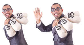 The man with money sacks on white. Man with money sacks on white Royalty Free Stock Images