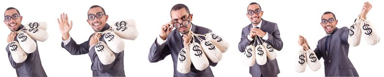 The man with money sacks on white. Man with money sacks on white Stock Photo