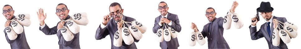 The man with money sacks on white Stock Photography