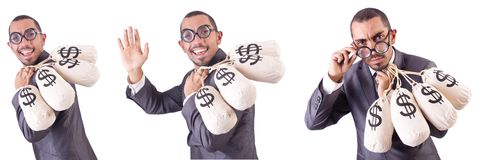 The man with money sacks on white Stock Image