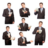 Man with money set Stock Images