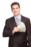 Man with money in suit Royalty Free Stock Photography