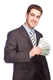 Man with money in suit Stock Photography